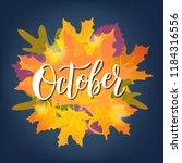 hand sketched october text.... | Shutterstock .eps vector #1184316556