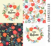 set with flowers seamless... | Shutterstock .eps vector #1184321113