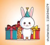 happy birthday card with cute... | Shutterstock .eps vector #1184346079