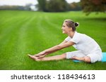 young girl doing gymnastics in... | Shutterstock . vector #118434613