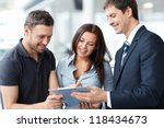 seller and buyer in the showroom | Shutterstock . vector #118434673