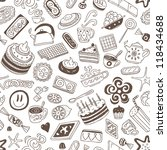 coffee and sweets   seamless... | Shutterstock .eps vector #118434688