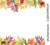 handpainted watercolor frame of ... | Shutterstock . vector #1184349019