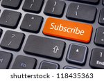 a subscribe message on keyboard ...   Shutterstock . vector #118435363