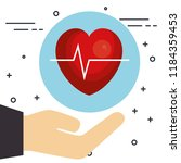 hand with heart cardio | Shutterstock .eps vector #1184359453