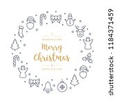 christmas greeting wreath icons ... | Shutterstock .eps vector #1184371459