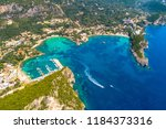 paleokastritsa bay on corfu... | Shutterstock . vector #1184373316