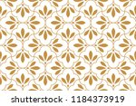 Stock vector flower geometric pattern seamless vector background white and gold ornament ornament for fabric 1184373919