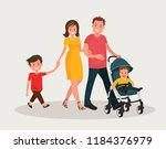 parents with baby. mom and dad... | Shutterstock .eps vector #1184376979