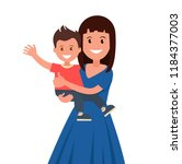 happy mother holding his son.... | Shutterstock .eps vector #1184377003