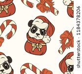seamless pattern with panda... | Shutterstock .eps vector #1184378206