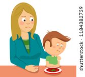 mother consoling her little son ... | Shutterstock .eps vector #1184382739