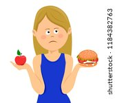 young unhappy woman chooses... | Shutterstock .eps vector #1184382763