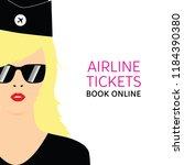 stewardess blonde in black... | Shutterstock .eps vector #1184390380