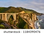 bixby creek bridge on highway 1 ... | Shutterstock . vector #1184390476