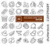 nuts  beans and seeds line icon ... | Shutterstock .eps vector #1184396689