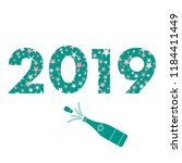 2019 new year card. 2019 is... | Shutterstock .eps vector #1184411449