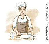 smiling and happy female chef.... | Shutterstock .eps vector #1184412676