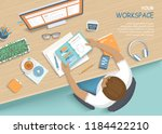 man sitting at the wooden table.... | Shutterstock .eps vector #1184422210