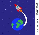 rocket launch from planet earth | Shutterstock .eps vector #1184423209