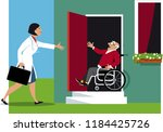 doctor making a house call to a ... | Shutterstock .eps vector #1184425726