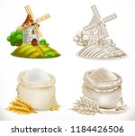 mill and flour. 3d realism and... | Shutterstock .eps vector #1184426506