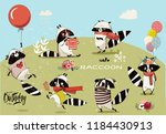 cute raccoon set | Shutterstock .eps vector #1184430913