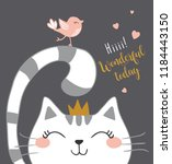 cute cat vector design. | Shutterstock .eps vector #1184443150