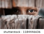 Small photo of Boy looks through the gap in the fence. The concept of voyeurism, curiosity, Stalker, surveillance and security