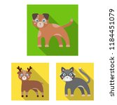 toy animals flat icons in set... | Shutterstock . vector #1184451079