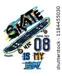 new york skate is my life t...   Shutterstock .eps vector #1184455030