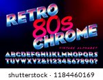 a retro 80s style chrome... | Shutterstock .eps vector #1184460169