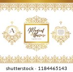 vector set of golden seamless... | Shutterstock .eps vector #1184465143