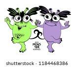 vector cool monsters. hand... | Shutterstock .eps vector #1184468386