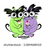vector cool monsters. hand... | Shutterstock .eps vector #1184468410
