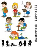 kids in school | Shutterstock .eps vector #118446898