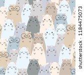 seamless pattern cute cat... | Shutterstock .eps vector #1184475073