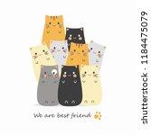 cute cat cartoons | Shutterstock .eps vector #1184475079