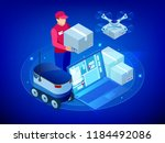 isometric drone fast delivery... | Shutterstock .eps vector #1184492086