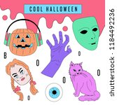 cool and colorful halloween... | Shutterstock .eps vector #1184492236