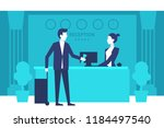 hotel reception. young man... | Shutterstock .eps vector #1184497540
