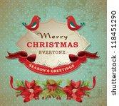 vintage christmas frame... | Shutterstock .eps vector #118451290