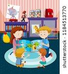 parents reading children a book ...   Shutterstock .eps vector #1184513770