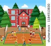 children playing basketball... | Shutterstock .eps vector #1184513830
