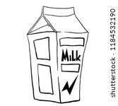 milk carton hand drawn cartoon... | Shutterstock .eps vector #1184532190