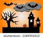 halloween night many flying... | Shutterstock . vector #1184541613