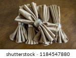 golden napkin bow with silver... | Shutterstock . vector #1184547880