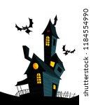 creepy house on night... | Shutterstock .eps vector #1184554990