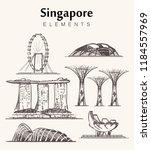 Set Of Hand Drawn Singapore...