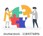 people connecting jigsaw pieces ... | Shutterstock .eps vector #1184576896